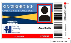 Kingsborough Community College ID Card, with attention drawn to library barcode (along right edge)